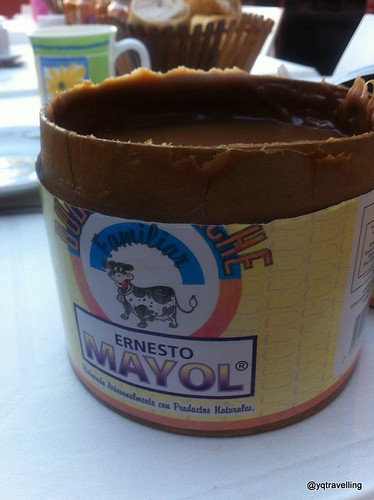 Dulce de leche in a tub