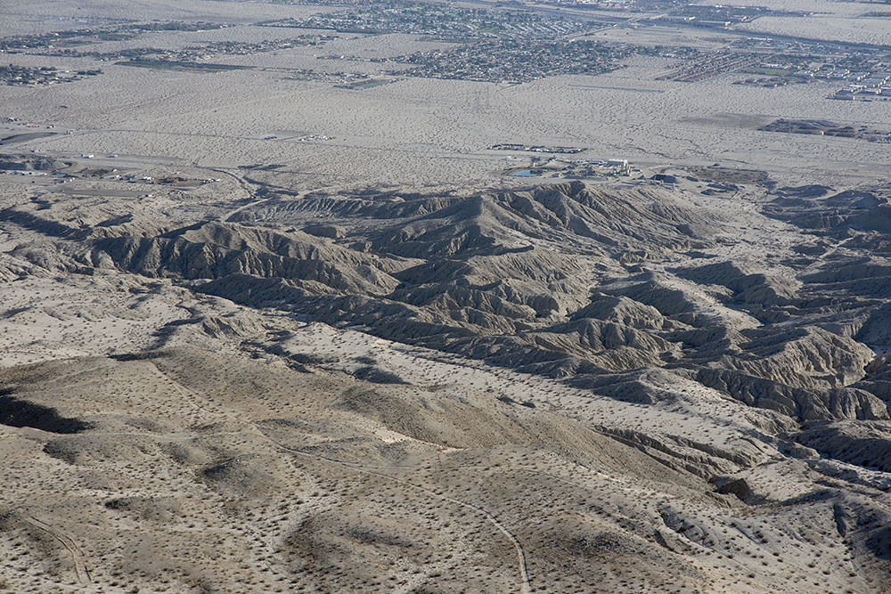 Aerial view of the Banning strand of the San Andreas Fault, Indio Hills, California