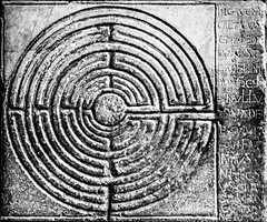 symmetry, maze, labyrinth, line, monochrome photography, stone carving, circle, monochrome, black-and-white,
