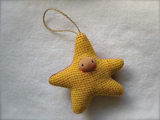 Drizzle Ornament: Marigold Ticking & Red STAR/Tan