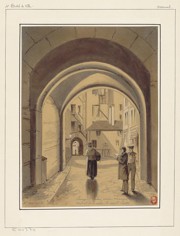 sketch of people under Parisian archway 1880s - ink & watercolour