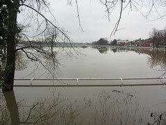 Worcester Racecource under floodwater