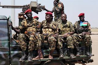 South Sudan troops on patrol. The soldiers have taken back the capital of Unity state on January 10, 2014. by Pan-African News Wire File Photos
