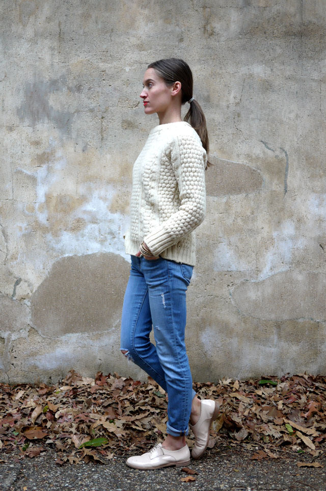 6 jbrand skinny jeans brogues and fisherman sweater ethical style blog