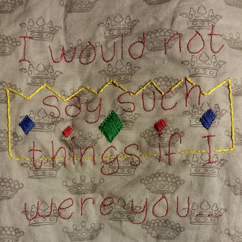 Just finished stitching the Humperdinck quote for #asyouwish. Free Princess Bride patterns on #fandominstitches .