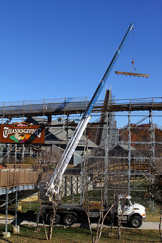 Track maintenance on The Voyage at Holiday World