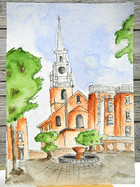 Old North Church Watercolor Painting