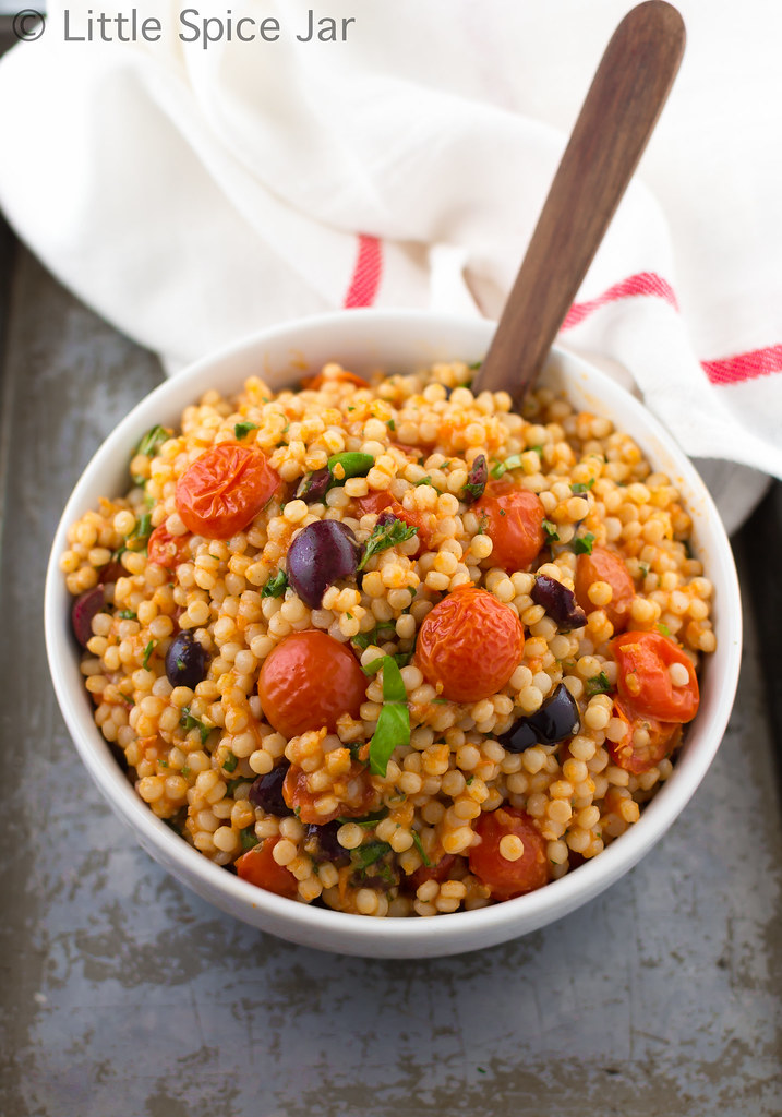 An easy to make Mediterranean pearl couscous salad. Tossed in a ...