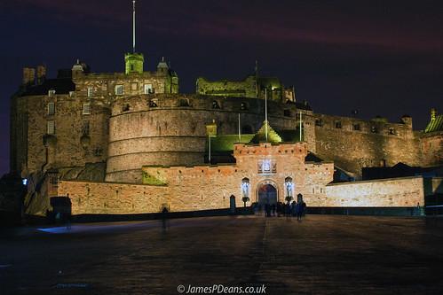 castle edinburgh europe history lothian nighttimeshot scotland timeofday uk unitedkingdom historicscotland sunset gb light lights britain fortifications