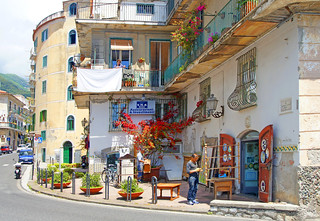 A streetscene from Minori. Province of Salerno in the Campania region of southwestern Italy