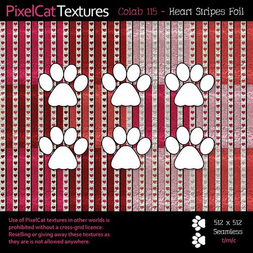 PixelCat Textures - Colab 115 - Heart Stripes Foil