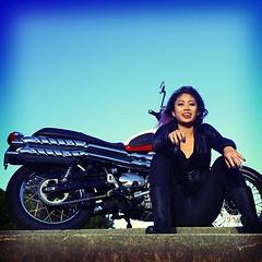 Triumph Scrambler and bay area female biker.