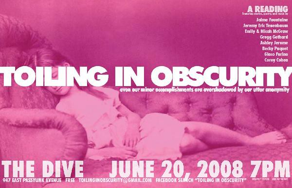 Jeremy Eric Tenenbaum: Flier: Toiling in Obscurity