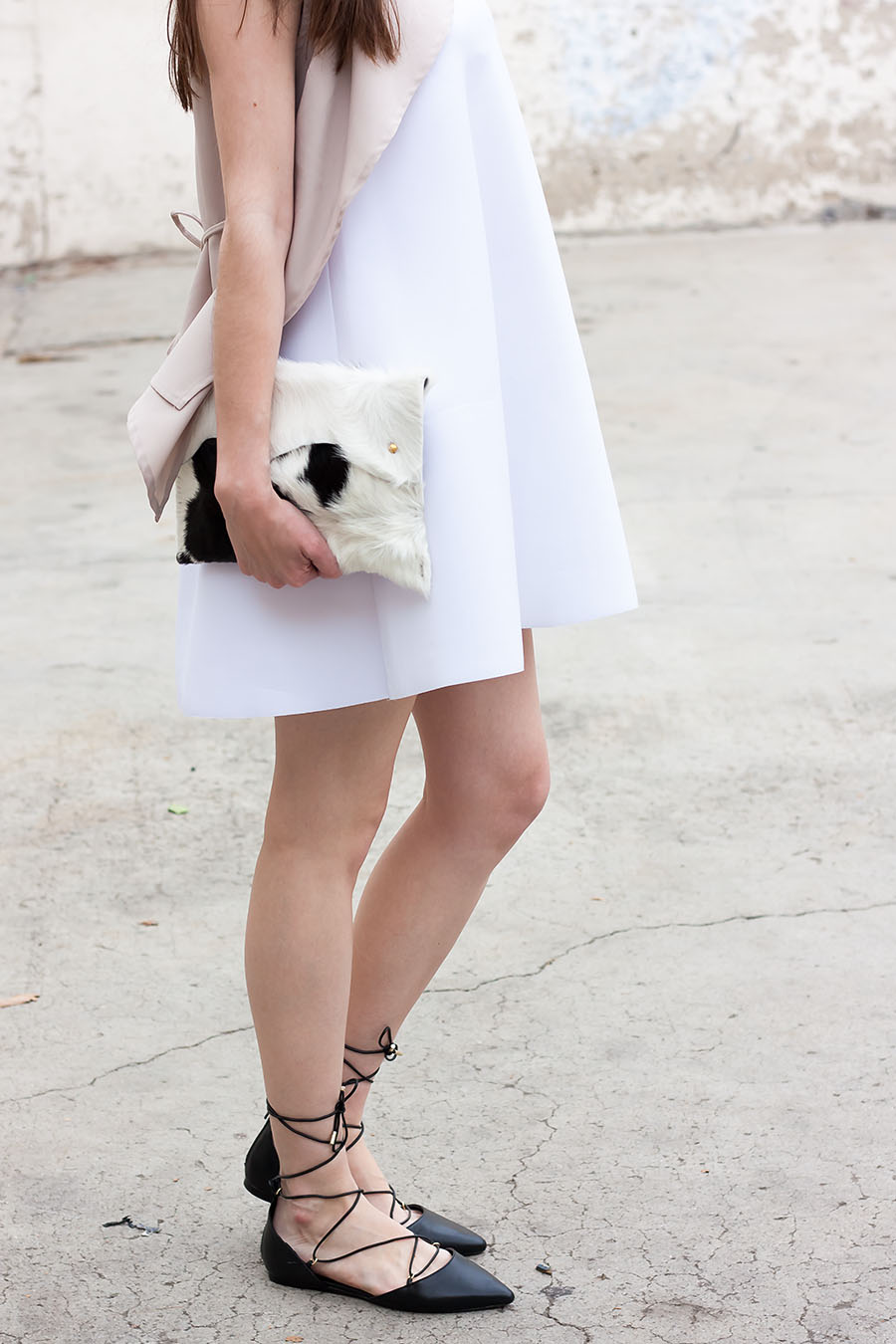 White Scuba Dress, Shop The Mint Boutique, Cowhide Clutch, Walter and George