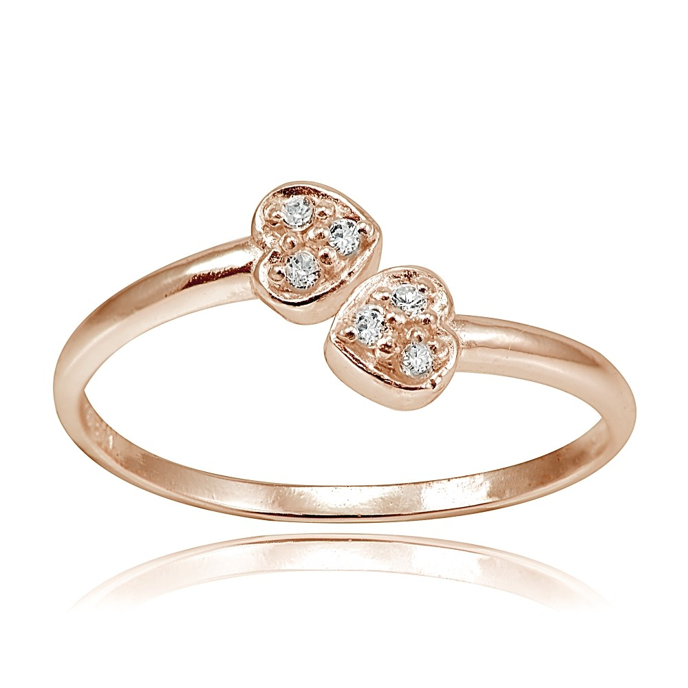 Double Gold Platinum: Rose Gold Tone Over Sterling Silver CZ Double Heart Toe