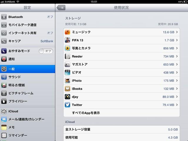iPad mini 使用容量