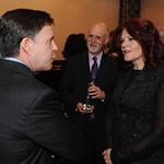 Bob Costas and Rosanne Cash meet, accompanied by WFUV's John Platt. Edison Ballroom in New York City, May 9, 2013. Photo by Chris Taggart