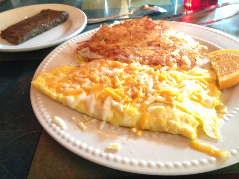Cheese omellette, hash browns, and a side of scrapple at Blue Moon Cafe in Baltimore, MD