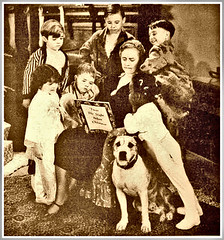 Our gang, mid 1930's, being read to--Twas the night before Christmas