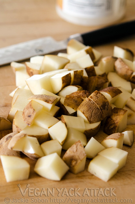 close-up shot of chopped potatoes