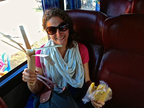 Lina's favorite new snack. Sweet sticky rice stuffed in a bamboo case… And a side of mango. On our way to Kratie