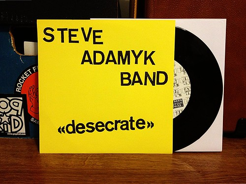 "Steve Adamyk Band - Desecrate 7"" - Stamped Cover (/17) by Tim PopKid"