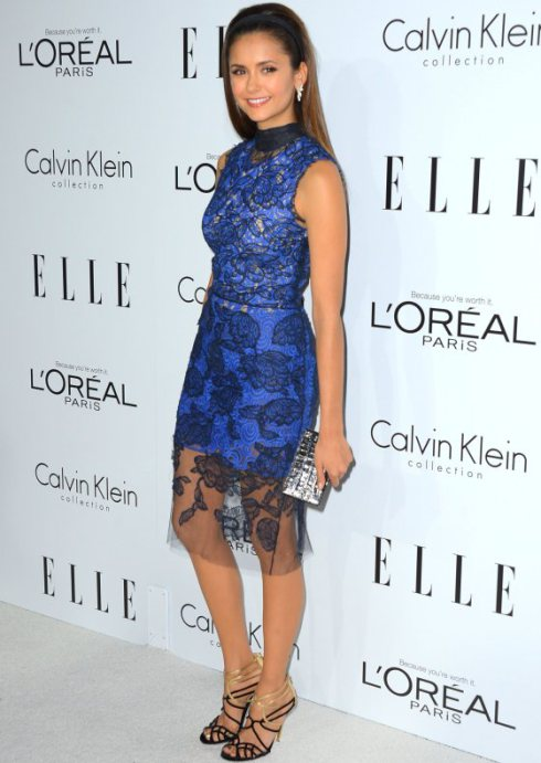 nina-dobrev-vera-wang-spring-2013-lace-overlay-blue-dress
