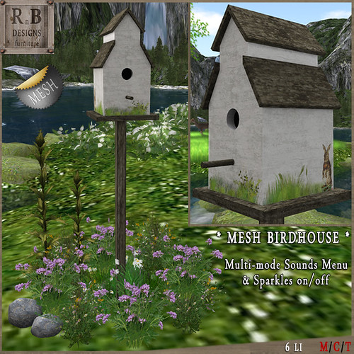BLBH Gift ! *RnB* Mesh Birdhouse v1 - Bunny (sounds on-off)(np)