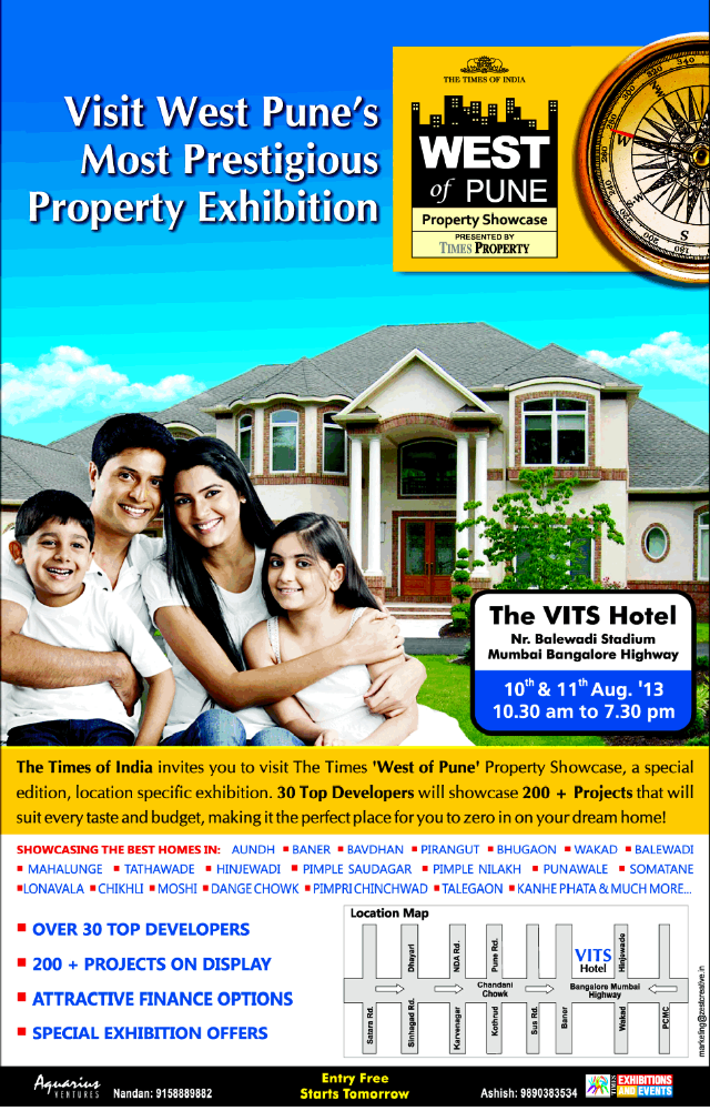 The Times 'West of Pune' Property Showcase, 10th & 11th August 2013, The VITS Hotel, Balewadi Stadium, Pune (9-8-2013)