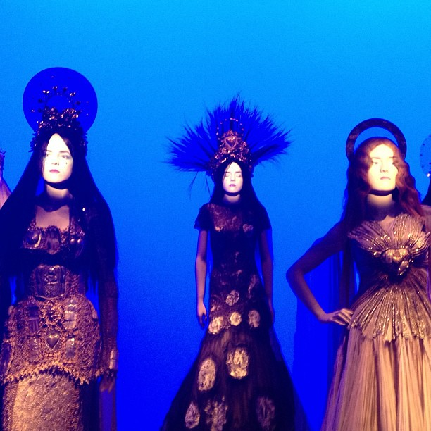 Amazing magical projections of real moving faces onto the models. Gaultier rocks.