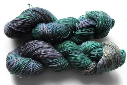 Luxury merino sock yarn in 'oil slick' colourway