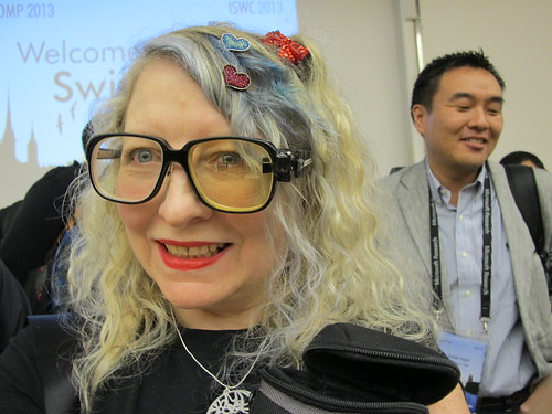 Cheekily trying on Thad Starner's computer / Twiddler glasses at   at ISWC / Ubicomp - I hope he didn't mind ;-)
