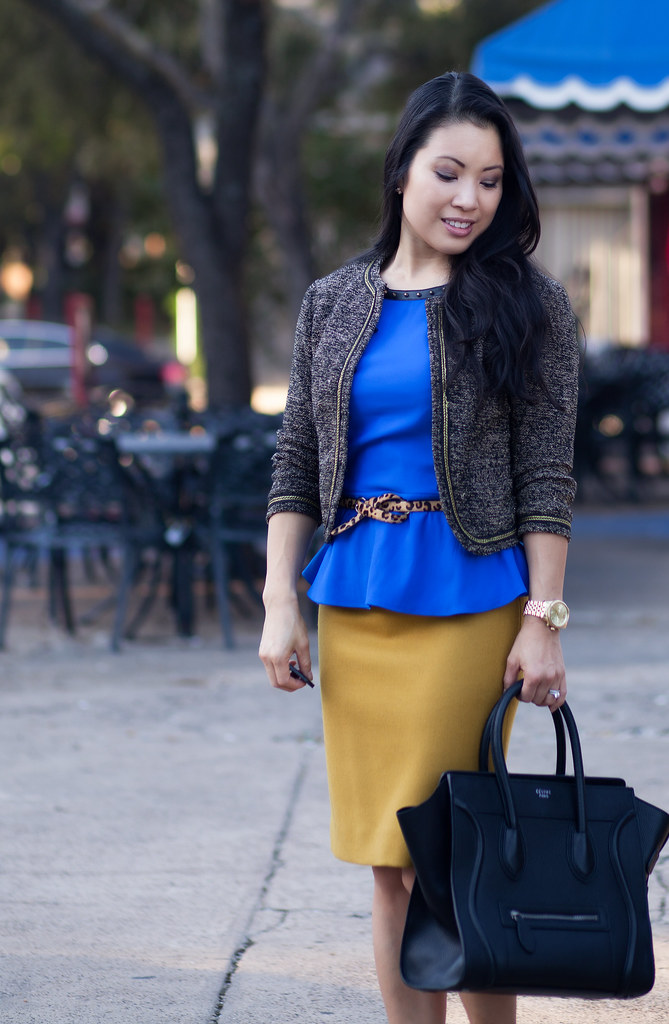 cute & little blog | express cobalt peplum, leopard belt, mustard pencil skirt, louboutin black patent decollete pumps outfit #ootd