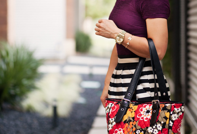cute & little blog | zara burgundy top, striped skirt, sole society tierra gold cap toe pump, vera bradley buckle tote in bittersweet, dailylook rhinestone arrow bracelet outfit #ootd