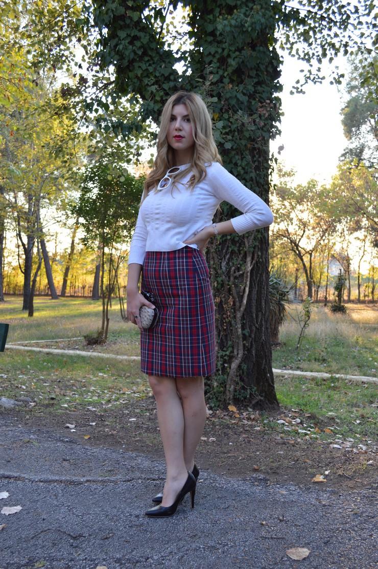 check skirt white top 2