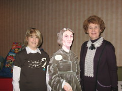 Me, Life-sized Ellen cut-out, and Ellen interpreter, Joyce Miles
