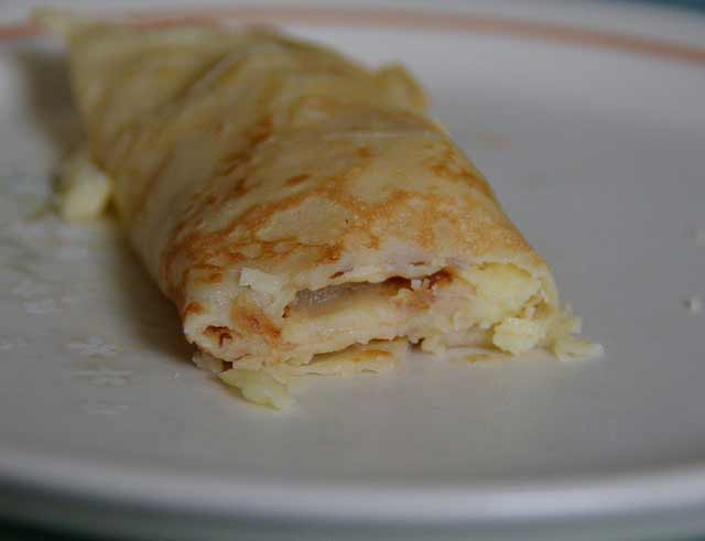 Easy to make rolled up pancake with cheddar and pineapple
