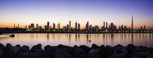 city trip morning travel reflection water skyline skyscraper canon landscape asia dubai uae middleeast scape magichour nationalgeographic
