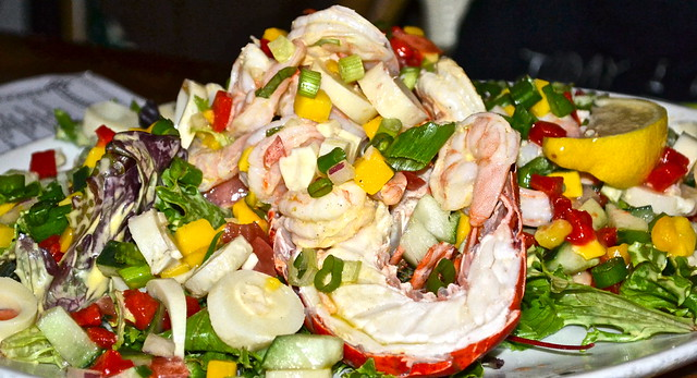 JB's on the Beach restaurant, Deerfield Beach, Florida - lobster and shrimp salad