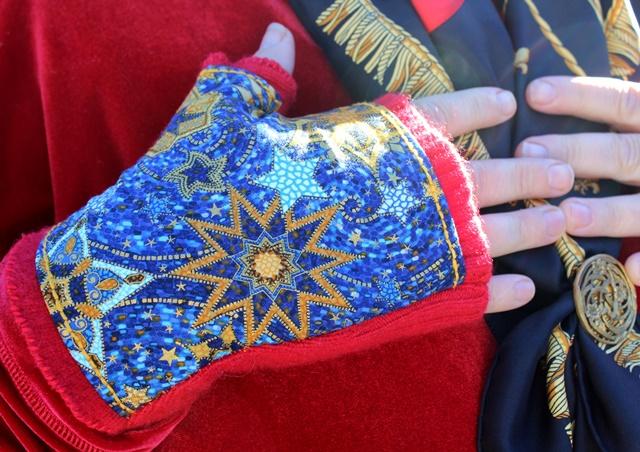 Celestial Blue & Red Wool DIY Fingerless Gloves