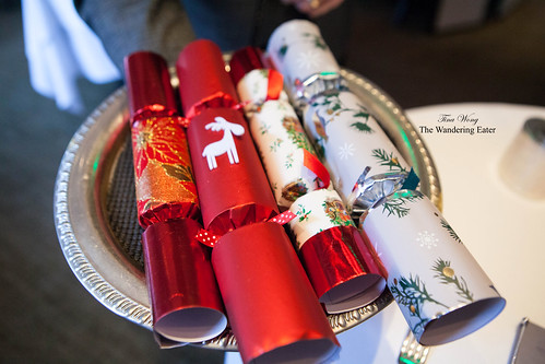 Tray of Holiday crackers