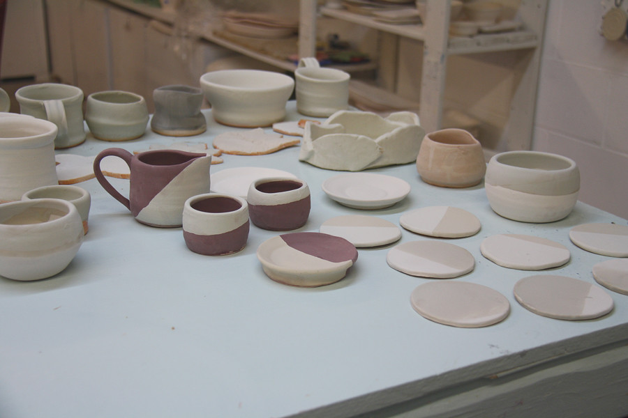 pottery on the wheel at savannah's clay spot