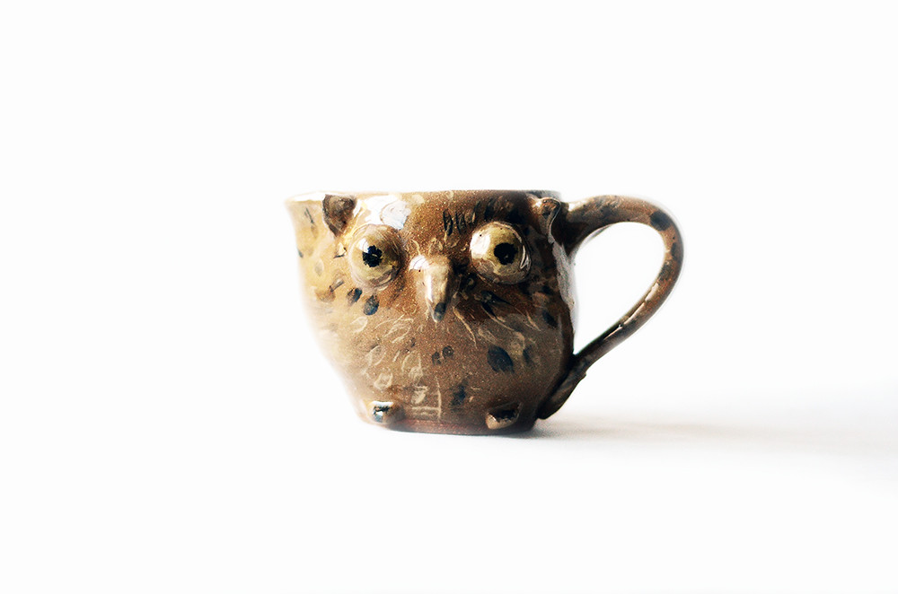 Vintage Ceramic Brown Owl Pitcher