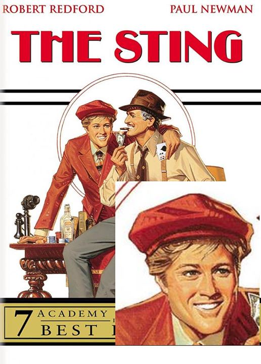 Completely random observation. What the hell is up with this drawing of Robert Redford on the poster/dvd box for The Sting? 1) doesn't he look like Ellen Degeneres? 2) Isn't that hat absurdly outsized for his head? This is one of those pictures you do not