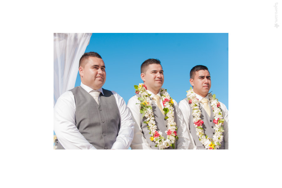 Waiting. ei, lei, groomsmen, Rarotonga wedding