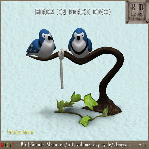 NEW GIFT ! *RnB* Jay Birds on Perch Deco - Sounds Menu (c)