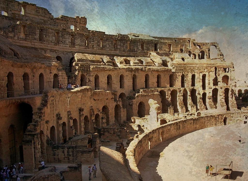 Tunesien - El Jem-röm. Kolosseum, im Innenraum,72026/2966