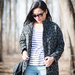 leopard coat light wash jeans