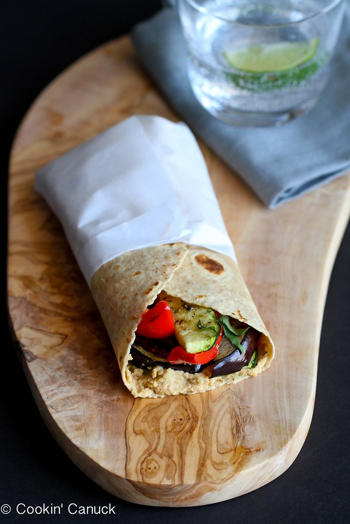 This easy vegan Grilled Vegetable Wrap Sandwich is made even better with a smear of hummus and a sprinkle of fresh basil. 232 calories and 7 Weight Watchers PP
