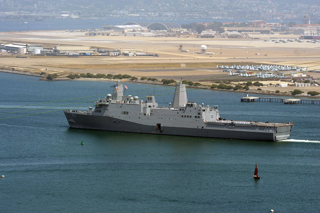 SAN DIEGO – The Navy's newest amphibious transport dock ship USS Somerset (LPD 25) passes Naval Air Station North Island as it makes it way to its new homeport at Naval Base San Diego.